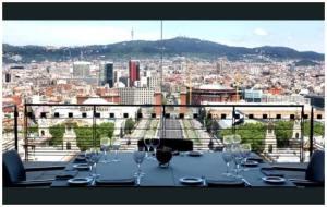 Vue sur la Plaza de España desde el restaurante Oleum