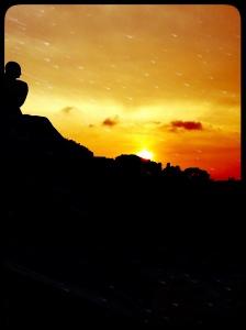 Coucher de soleil vu du MNAC