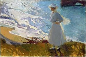 Maria en la Playa de Biarritz