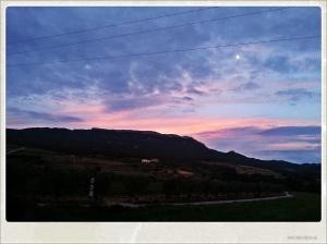 Coucher de soleil près de Marçà, village où se trouve Mas Figueres.